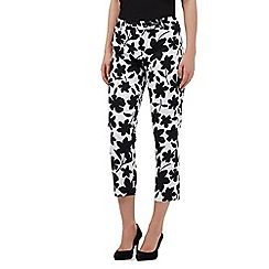 The Collection Petite - White cropped floral print sateen trousers