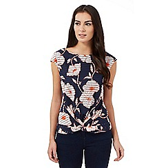 The Collection - Navy burnout stripe floral top