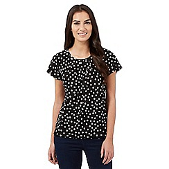 The Collection Petite - Black polka dot bubble hem top