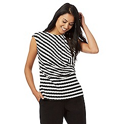 The Collection Petite - Black and white textured striped print top