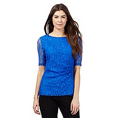 The Collection - Blue floral lace ruched top