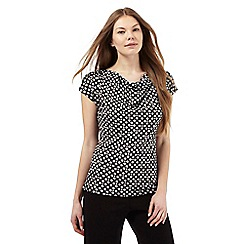 The Collection - Black spotted print cowl neck top