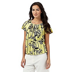 The Collection Petite - Yellow striped floral print top