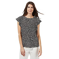 The Collection - Black spot print frilled top