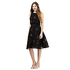The Collection - Black floral burnout layered waist prom dress