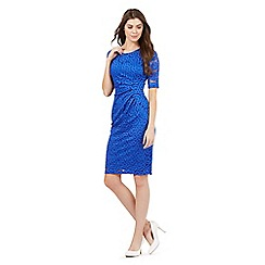 The Collection - Bright blue floral lace shift dress