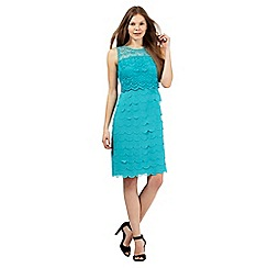 The Collection - Turquoise lace overlay scalloped dress