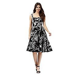 The Collection Petite - Black floral print elasticated dress