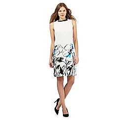 The Collection - Ivory textured floral print jewel embellished neck dress