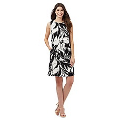 The Collection - Ivory and black floral print trapeze dress