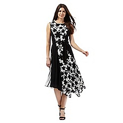 The Collection - Black and white floral print asymmetric hem dress