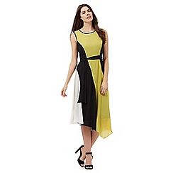 The Collection - Black and yellow striped colour block asymmetric hem dress