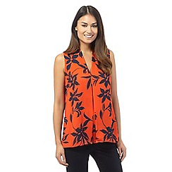 The Collection Petite - Orange v-neck leaf print blouse