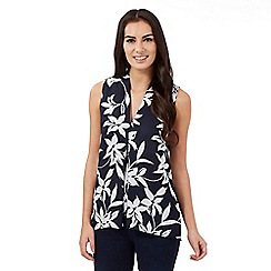 The Collection - Navy floral front pleat top