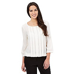 The Collection Petite - Ivory geometric bubble hem top