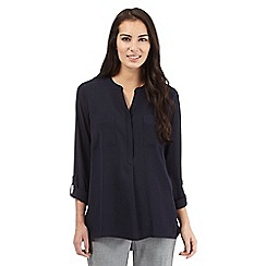 The Collection Petite - Navy plain woven top
