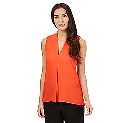 The Collection - Orange sleeveless front pleated top