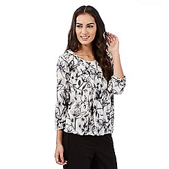 The Collection - Light grey etched lily bubble hem top