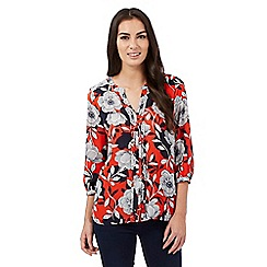 The Collection Petite - Orange floral front pleat top