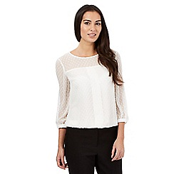 The Collection - Cream textured polka dot pleated front top