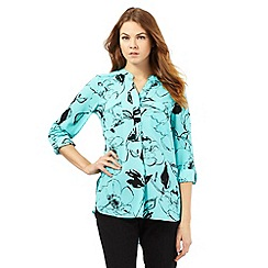 The Collection - Turquoise floral sketch print top