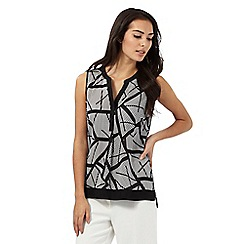 The Collection - Black and white spliced print top