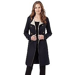 The Collection Petite - Navy double breasted mac coat