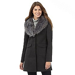 The Collection - Dark grey textured faux fur collar coat