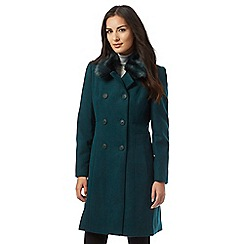 The Collection - Green faux fur collar coat