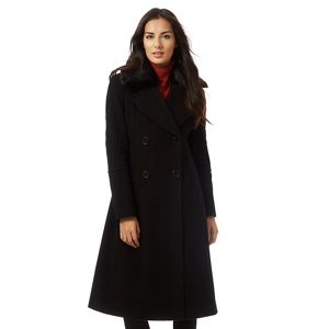 The Collection Black faux fur collar cashmereßcoat