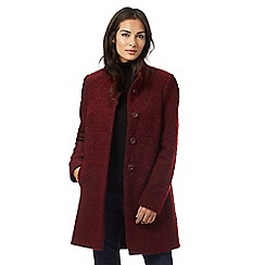 The Collection - Dark red high collar boucle coat