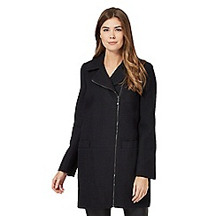 The Collection - Navy textured asymmetric zip coat with wool