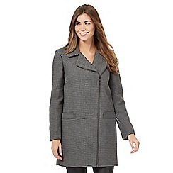 The Collection - Grey textured asymmetric zip coat with wool
