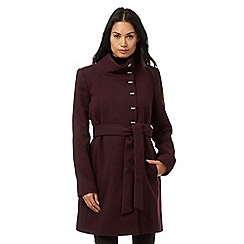 The Collection - Purple metal tab belted coat