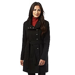 The Collection - Black metal tab belted coat