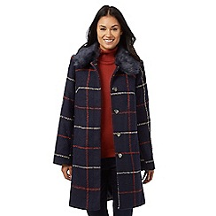 The Collection - Navy check faux fur collar coat