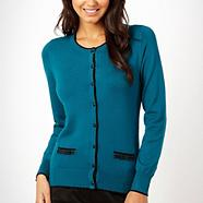 Dark turquoise scalloped tip striped cardigan