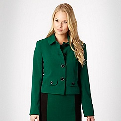 The Collection - Dark green crepe round collar jacket