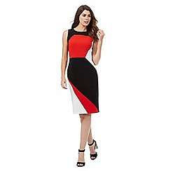 The Collection - Red colour block fitted dress