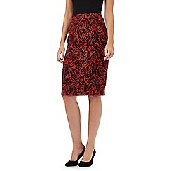The Collection - Red patterned ponte skirt