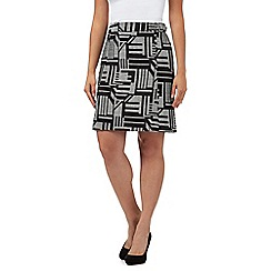 The Collection - Black geometric print A-line skirt
