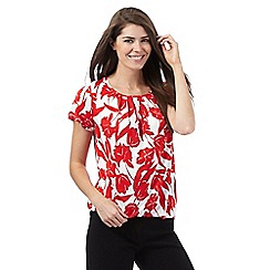 The Collection Petite - Red tulip print top