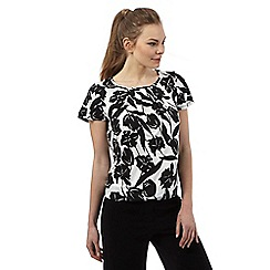 The Collection Petite - White tulip print pleated top