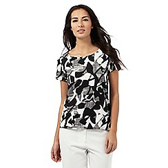 The Collection - Two-tone leaf print top