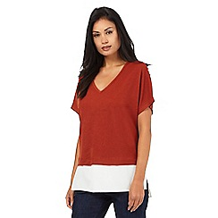 The Collection - Dark orange two in one V neck top