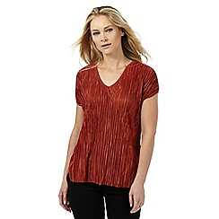 The Collection - Dark orange plisse V neck top