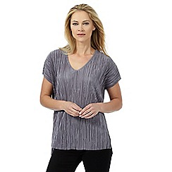 The Collection - Grey plisse V neck top