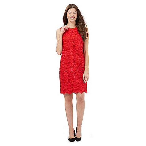 The Collection - Red geometric lace dress