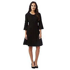 The Collection - Black textured fluted sleeve dress