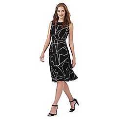 The Collection - Black geometric line print prom dress